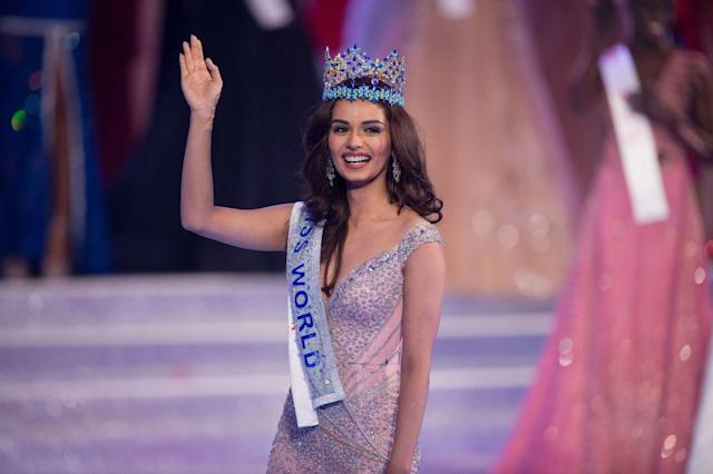 Miss India Manushi Chhillar wins the 67th Miss World contest final in Sanya, on the tropical Chinese island of Hainan on Nov. 18, 2017. (Photo: Getty Images)