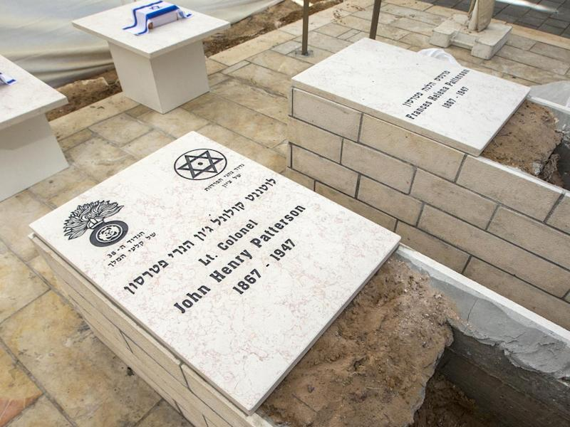 The grave of Lt Col John Henry Patterson and his wife Frances Helena are re interred in Israel in 2014 (AFP/Getty Images)