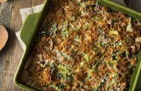 """<p>Your guests won't believe that this dish is loaded with veggies. Green bean casserole is the dish to make ahead of time and freeze. But when you're reheating it, resist the urge to open the oven and see if those onions have crisped up, not being patient is one <a href=""""https://www.thedailymeal.com/cook/bad-cooking-habits?referrer=yahoo&category=beauty_food&include_utm=1&utm_medium=referral&utm_source=yahoo&utm_campaign=feed"""" rel=""""nofollow noopener"""" target=""""_blank"""" data-ylk=""""slk:bad cooking habit you need to stop"""" class=""""link rapid-noclick-resp"""">bad cooking habit you need to stop</a>.</p> <p><a href=""""https://www.thedailymeal.com/recipes/green-bean-casserole-recipe-0?referrer=yahoo&category=beauty_food&include_utm=1&utm_medium=referral&utm_source=yahoo&utm_campaign=feed"""" rel=""""nofollow noopener"""" target=""""_blank"""" data-ylk=""""slk:For the Green Bean Casserole recipe, click here."""" class=""""link rapid-noclick-resp"""">For the Green Bean Casserole recipe, click here.</a></p>"""