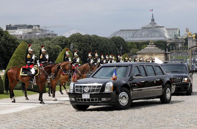 <p>The motorcade carrying President Donald Trump arrives at Les Invalides museum in Paris Thursday, July 13, 2017. (Photo: Michel Euler/AP) </p>