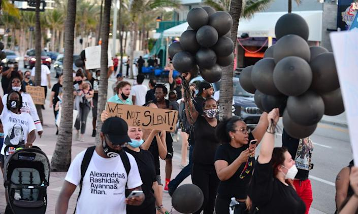 Black Lives Matter protests in Florida this summer, such as this one in Fort Lauderdale in June, have been overwhelmingly peaceful.