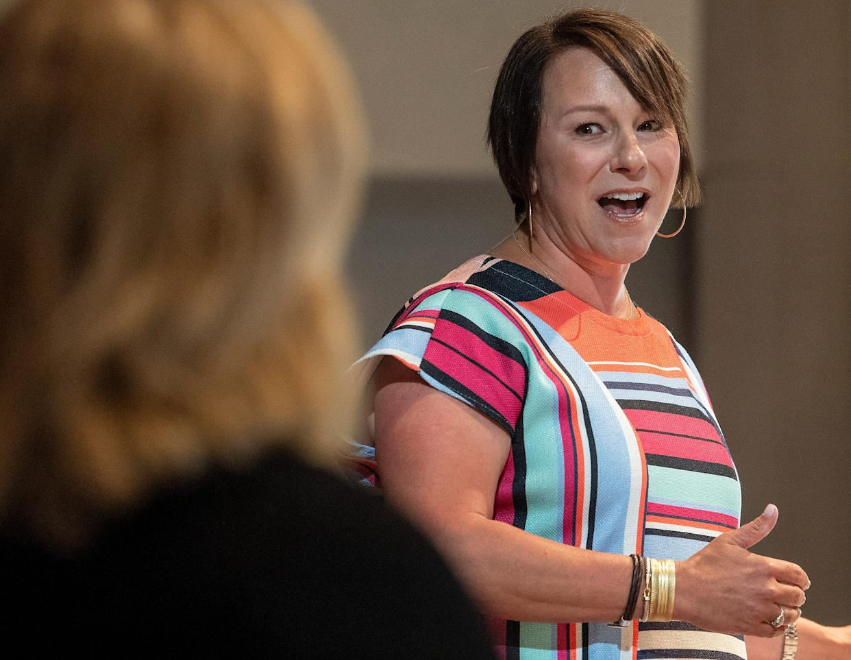 Congresswoman Martha Roby speaks to the Montgomery Chamber of Commerce at their regular Eggs and Issues breakfast in Montgomery, Ala., on Wednesday morning August 14, 2019.