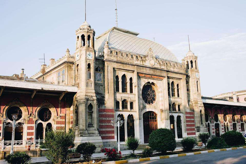 "This train station's history is as impressive as its design: the Sirkeci Terminal once served as the final station on the famed <a href=""https://www.cntraveler.com/story/how-the-orient-express-got-a-hollywood-makeover?mbid=synd_yahoo_rss"" rel=""nofollow noopener"" target=""_blank"" data-ylk=""slk:Orient Express"" class=""link rapid-noclick-resp"">Orient Express</a> train route. Built in 1890, the station now houses a one-room museum dedicated to its history and the Orient Express. Once you've explored the station and train's history, wander around the station to take in the stained glass windows, sparkling chandeliers, and Oriental-Gothic façade. Today, the station only serves local passengers on Marmaray public transport trains."