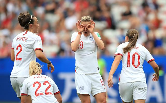 Ellen White celebrates after putting England 2-0 up (Photo by Marc Atkins/Getty Images)