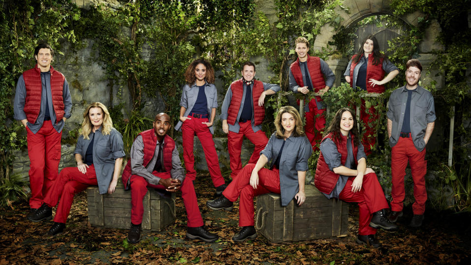 Vernon Kay, Beverley Callard, Sir Mo Farah CBE, Jessica Plummer, Shane Richie, Victoria Derbyshire, AJ Pritchard, Giovanna Fletcher, Hollie Arnold MBE and Jordan North in a promotional still for I'm A Celebrity... Get Me Out Of Here! (ITV)