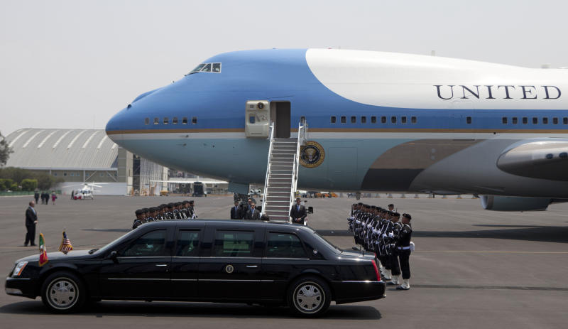 The vehicle of President Barack Obama drives the president after he arrived to Benito Juarez International airport in Mexico City, Thursday, May 2, 2013. Obama arrived to Mexico for a two-day visit. (AP Photo/Eduardo Verdugo)