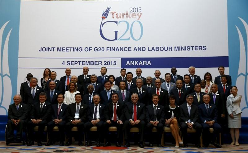 Finance and labour ministers gather for a group photo of the G20 Joint Meeting of Finance and Labour Ministers in Ankara