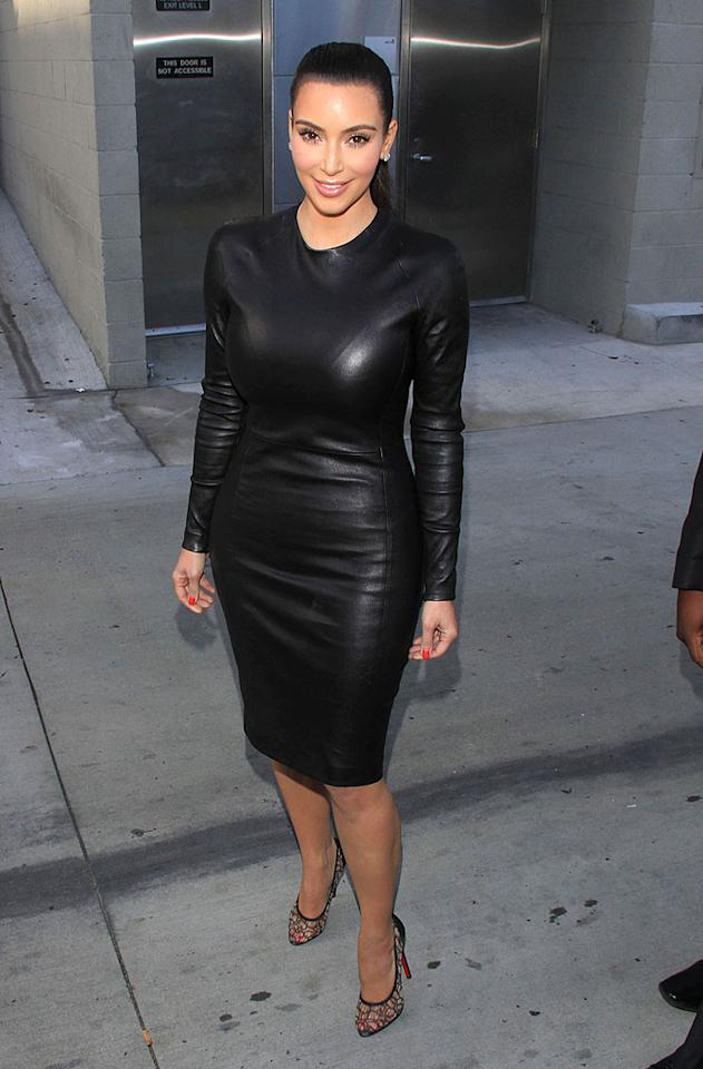 "Also photographed wearing a trendy leather look this week was Kim Kardashian, who showed off her signature curves in a skintight showstopper and lacy Louboutins at a taping of ""Jimmy Kimmel Live!."" However, the reality star's voluptuousness caused her to suffer a <a target=""_blank"" href=""http://screen.yahoo.com/kim-kardashian-needs-wardrobe-surgery-prior-to-live-tv-appearance-29520920.html"">wardrobe malfunction</a> minutes before taking the stage. Lucky for her (and not-so-lucky for male viewers), the show's wardrobe department was able to sew Kim up after she had split the back wide open. (6/6/2012)"