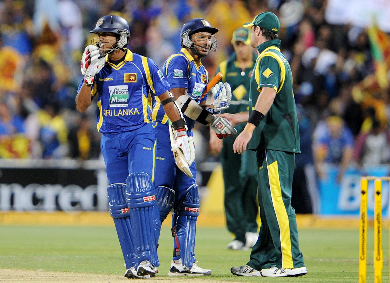 Sri Lanka blazed to an emphatic eight-wicket victory over Australia at the Adelaide Oval Tuesday to take the tri one-day international series to a decider. The World Cup finalists easily ran down Australia's 271 for six to post 274 for two with 34 balls to spare.
