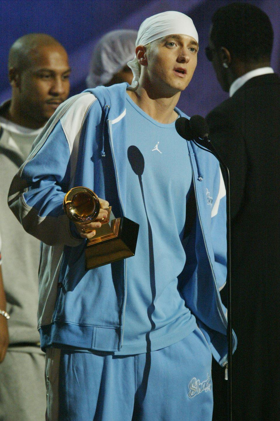 <p>The rapper accepted his Grammy in a baby-blue Jordan tracksuit.</p>