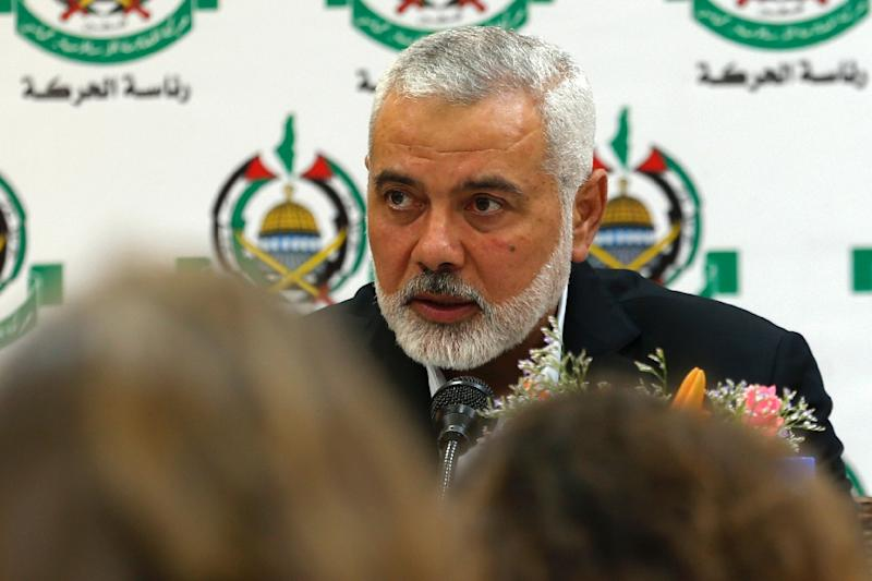 "Hamas leader in Gaza Ismail Haniya his movement rejected an upcoming US-sponsored Mideast economic conference as Arab ""normalisation"" with Israel, calling on Bahrain to rethink their role as hosts (AFP Photo/MOHAMMED ABED)"