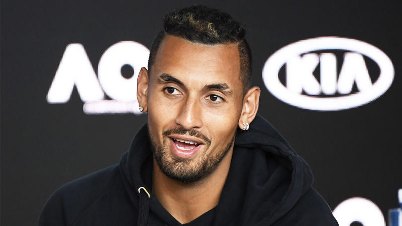 Nick Kyrgios has taken another crack at the US Open after joking he would wear a 'hazmat suit' if he was going to travel over and play. (Getty Images)