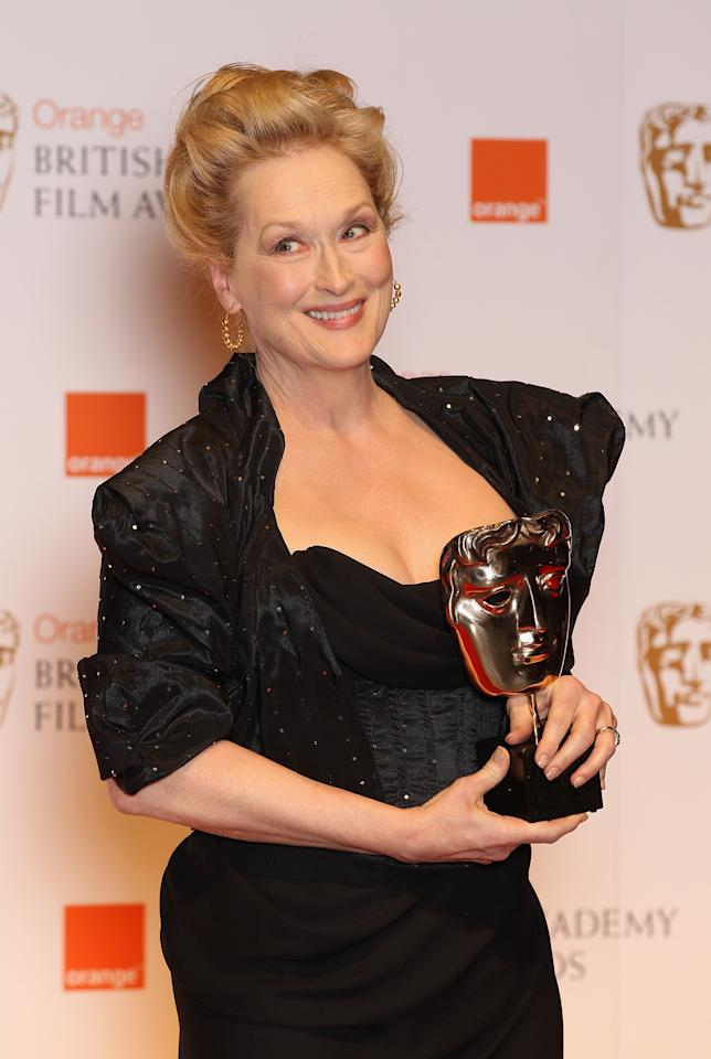 LONDON, ENGLAND - FEBRUARY 12: Actress Meryl Streep poses in the press room with the Best Actress award for 'The Iron Lady'during the Orange British Academy Film Awards 2012 at the Royal Opera House on February 12, 2012 in London, England.  (Photo by Chris Jackson/Getty Images)