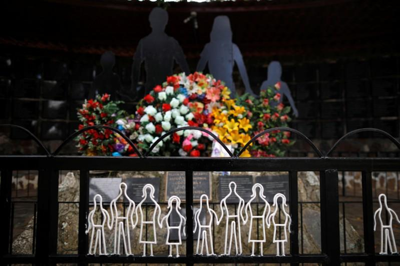 A detail of the memorial monument of El Mozote Massacre is seen in the village of El Mozote