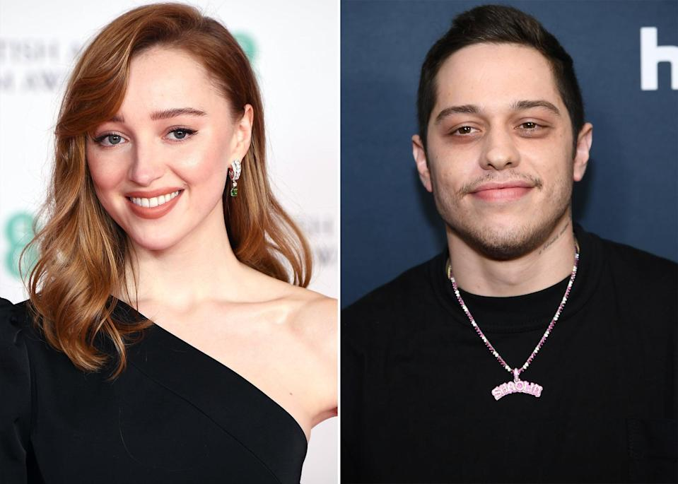 """<p>Pete Davidson and Phoebe Dynevor reportedly hit it off <a href=""""https://www.popsugar.com/celebrity/are-phoebe-dynevor-pete-davidson-dating-48254108"""" class=""""link rapid-noclick-resp"""" rel=""""nofollow noopener"""" target=""""_blank"""" data-ylk=""""slk:after meeting at a gathering in New York City"""">after meeting at a gathering in New York City</a>. Despite <a href=""""https://www.etonline.com/are-pete-davidson-and-phoebe-dynevor-dating-pair-spotted-holding-hands-eyewitness-says-162964"""" class=""""link rapid-noclick-resp"""" rel=""""nofollow noopener"""" target=""""_blank"""" data-ylk=""""slk:being seen holding hands in the United Kingdom"""">being seen holding hands in the United Kingdom</a> during March, it wasn't until <a href=""""https://www.usmagazine.com/celebrity-news/news/pete-davidson-phoebe-dynevor-are-dating-long-distance/"""" class=""""link rapid-noclick-resp"""" rel=""""nofollow noopener"""" target=""""_blank"""" data-ylk=""""slk:April 5 that Us Weekly confirmed"""">April 5 that <strong>Us Weekly</strong> confirmed</a> that <a href=""""https://www.popsugar.com/celebrity/are-phoebe-dynevor-pete-davidson-dating-48254108"""" class=""""link rapid-noclick-resp"""" rel=""""nofollow noopener"""" target=""""_blank"""" data-ylk=""""slk:the two were a couple"""">the two were a couple</a>. Pete also seemingly confirmed the news himself in a Zoom Q&amp;A with students at Marquette University on April 11, saying that he was with his """"<a href=""""https://www.instagram.com/p/CNjl_U5HIPM/"""" class=""""link rapid-noclick-resp"""" rel=""""nofollow noopener"""" target=""""_blank"""" data-ylk=""""slk:celebrity crush"""">celebrity crush</a>."""" By the end of April, <a href=""""https://www.popsugar.com/celebrity/pete-davidson-phoebe-dynevor-cute-pictures-48290003"""" class=""""link rapid-noclick-resp"""" rel=""""nofollow noopener"""" target=""""_blank"""" data-ylk=""""slk:the pair went public with their romance"""">the pair went public with their romance</a>, <a href=""""https://www.popsugar.com/fashion/pete-davidson-phoebe-dynevor-initial-necklaces-48274265"""" class=""""link rapid-noclick-resp"""" rel=""""nofollow noopener"""" target=""""_blank"""" data-ylk="""