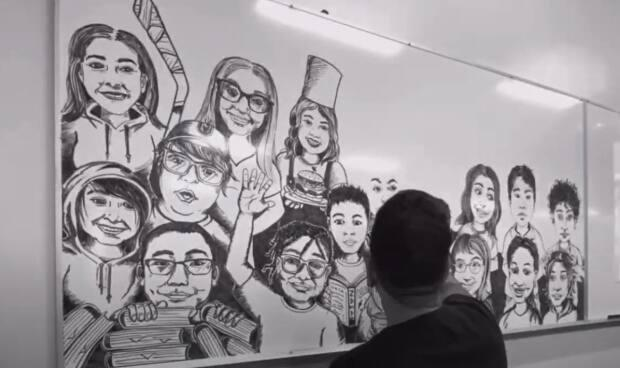 In this screengrab from a time-lapse video, Wascana Plains School Grade 5/6 teacher Andres Araneda draws each of his students on a whiteboard in his classroom. He completed the project with one marker. (Submitted by Andres Araneda - image credit)