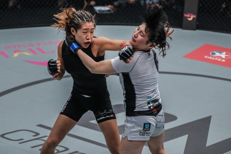 Angela Lee lands a punch on Jenny Huang during her submission win in March. (Credit: ONE Championship)