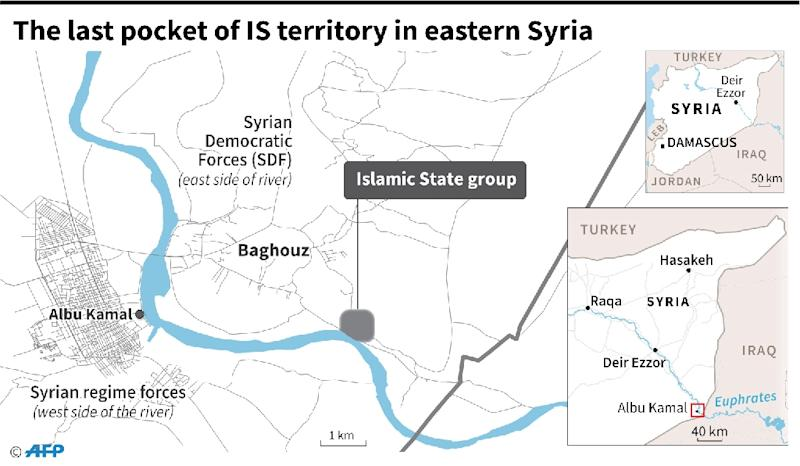 Map locating the last pocket of territory held by the Islamic State group in Syria. (AFP Photo/Laurence SAUBADU)