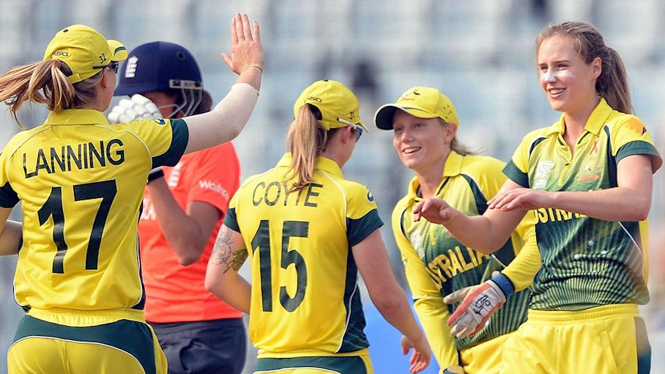 Pictured here, Australia's top female cricket stars celebrate during a match.