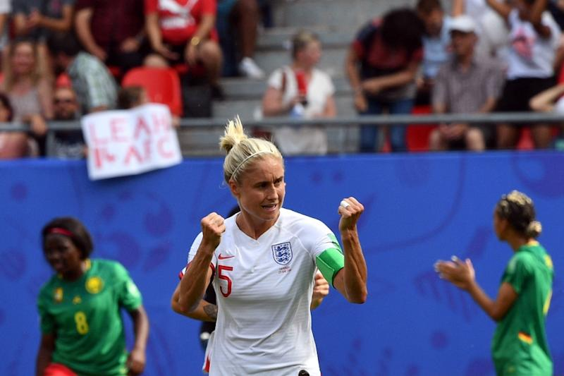 Captain Steph Houghton put England in front on their way to a 3-0 win over Cameroon in the last 16 of the women's World Cup (AFP Photo/Philippe HUGUEN)