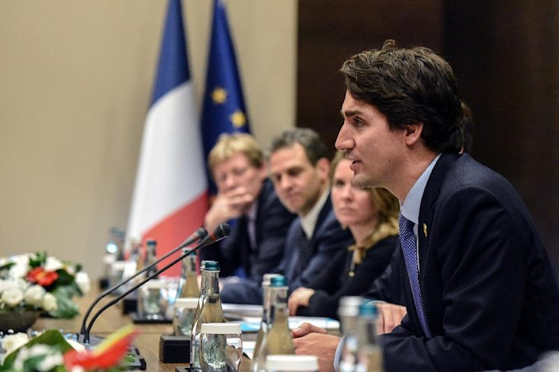 The three-way talks formed part of preparations for the state visit of Canada's new Prime Minister Justin Trudeau, pictured, to Washington, DC on March 10 (AFP Photo/Ozan Kose)