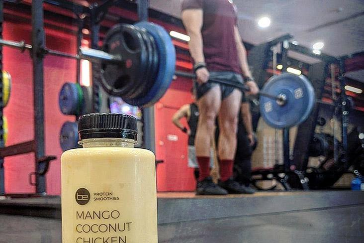 Refuel with a chicken protein smoothie after a few sets of heavy deadlifts.
