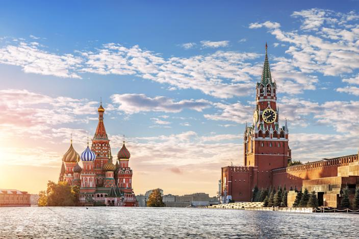 St. Basil's Cathedral and Spasskaya tower on Red Square in Moscow in the morning sun. Photo: Getty