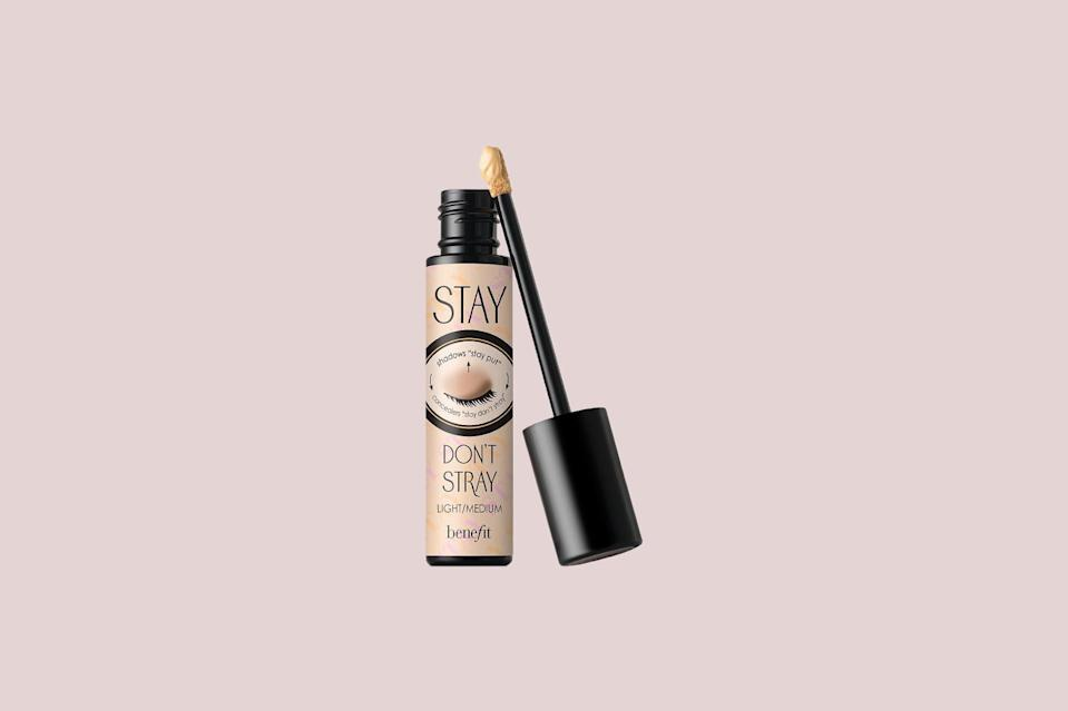 "<p>Not only does this top-rated product work to make lid makeup last, but it'll also help keep your concealer in place since it can be applied under the eyes. Plus, it's infused <a href=""https://www.marthastewart.com/7796802/hyaluronic-acid-beauty-products"" rel=""nofollow noopener"" target=""_blank"" data-ylk=""slk:with a form of hyaluronic acid"" class=""link rapid-noclick-resp"">with a form of hyaluronic acid</a>, as well as vitamins C and E, so it also hydrates and brightens with ever wear.</p> <p><strong><em>Shop Now: </em></strong><em>Benefit Cosmetics Stay Don't Stray Eyeshadow Primer, $26, </em><a href=""https://click.linksynergy.com/deeplink?id=93xLBvPhAeE&mid=1237&u1=MSLBEUBestEyeShadowPrimersOnTheMarketRNorrisSep20&murl=https%3A%2F%2Fwww.nordstrom.com%2Fs%2Fbenefit-stay-dont-stray-eyeshadow-primer%2F4700001"" rel=""nofollow noopener"" target=""_blank"" data-ylk=""slk:nordstrom.com"" class=""link rapid-noclick-resp""><em>nordstrom.com</em></a><em>.</em></p>"