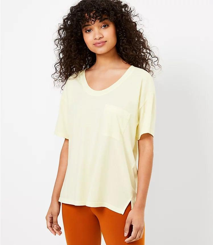 <p>You can never go wrong with the <span>Lou &amp; Grey Pocket Softserve Tee</span> ($40).</p>