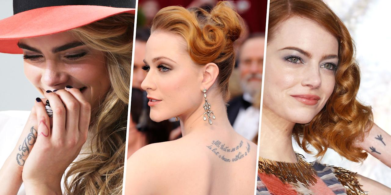 <p>Tattoos are a big part of today's culture, and stars are not exempt. From hidden script to highly visible art, take a peek at some of Hollywood's ink-and what it all means.<span></span> </p>