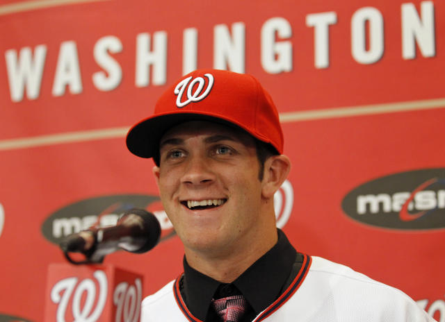 It's been a long time since Bryce Harper was beardless. (AP Photo/Alex Brandon)