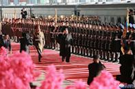 North Korean leader Kim Jong Un departs for a summit in Hanoi, in Pyongyang, North Korea in this photo released by North Korea's Korean Central News Agency (KCNA) on February 23, 2019. KCNA via REUTERS