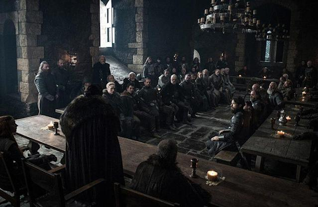 Kit Harington as Jon Snow, Rupert Vansittart as Yohn Royce, Sophie Turner as Sansa Stark, Richard Rycroft as Maester Wolkan, Gwendoline Christie as Brienne of Tarth, Daniel Portman as Podrick Payne, Liam Cunningham as Davos Seaworth, Bella Ramsey as Lyanna Mormont, and Kristofer Hivju as Tormund Giantsbane in HBO's 'Game of Thrones' (Photo Credit: HBO)