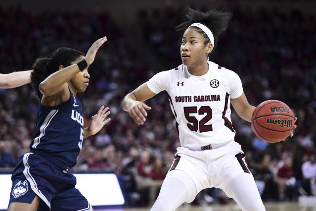 South Carolina guard Tyasha Harris and Connecticut guard Crystal Dangerfield are expected to go in the first two rounds of the 2020 WNBA draft. (AP Photo/Sean Rayford)