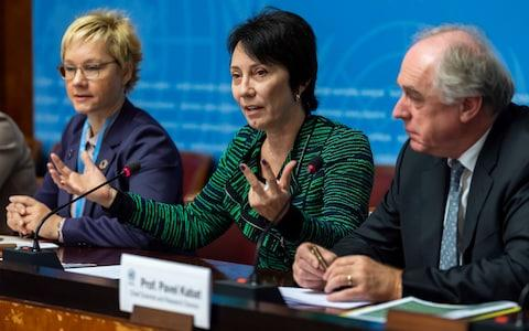 Oksana Tarasova, left, Chief, Atmospheric Environment Research Division, Elena Manaenkova, center, WMO Deputy Secretary-General and Pavel Kabat, right, WMO Chief Scientist and Research Director, speak about the release of WMO Greenhouse Gas Bulletin - Credit:  Martial Trezzini/ Keystone