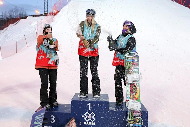 Gold medalist Anna Gasser of Austria with silver medalist Jamie Anderson of the US and bronze medalist Julia Marino of the US celebrate on the podium at the X-Games Snowboarding Slopestyle finals in Hafjell, Norway March 10, 2017. NTB Scanpix/Geir Olsen/via REUTERS ATTENTION EDITORS - THIS IMAGE WAS PROVIDED BY A THIRD PARTY. FOR EDITORIAL USE ONLY. NORWAY OUT. NO COMMERCIAL OR EDITORIAL SALES IN NORWAY. NO COMMERCIAL SALES.