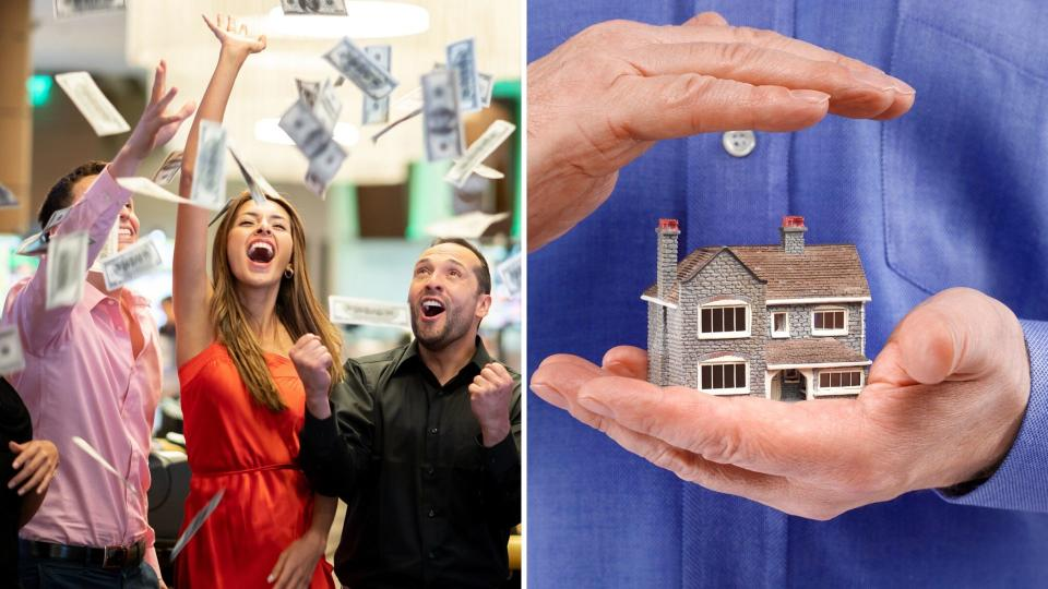 A group of people celebrating with money flying in the air on the left, and a person holding a model house in their hand on the right.