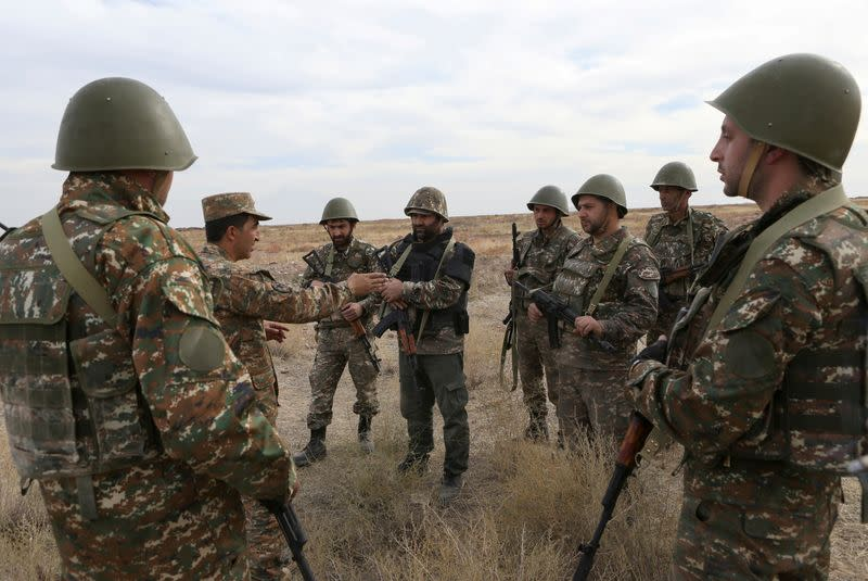 FILE PHOTO: Armenian reservists undergo training at a firing range near Yerevan