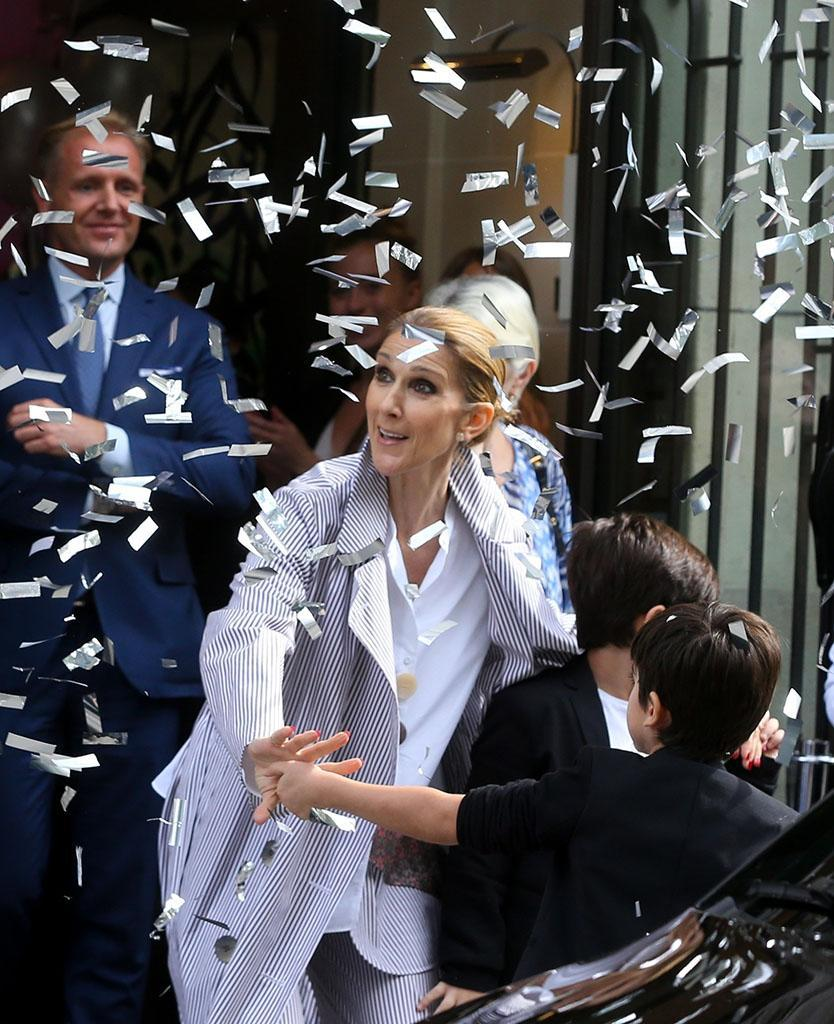 Celine Dion was showered with confetti when she leftParis.