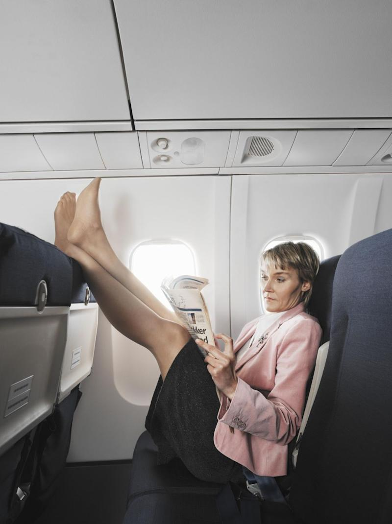 A flight attendant has revealed one of the annoying things on planes is when passengers put their feet on the seats. Photo: Getty Images