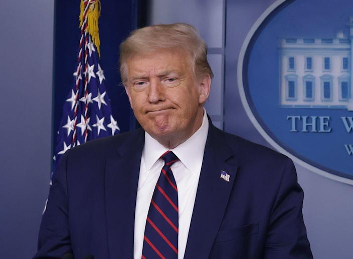 """<span class=""""caption"""">Trump has refused to say he will accept the outcome of the upcoming election.</span> <span class=""""attribution""""><a class=""""link rapid-noclick-resp"""" href=""""https://www.gettyimages.com/detail/news-photo/president-donald-trump-speaks-during-a-news-conference-in-news-photo/1262801830?adppopup=true"""" rel=""""nofollow noopener"""" target=""""_blank"""" data-ylk=""""slk:Alex Wong/Getty Images"""">Alex Wong/Getty Images</a></span>"""