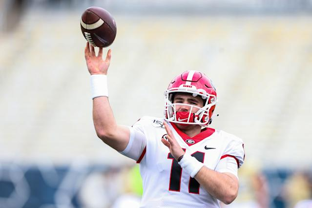 Georgia QB Jake Fromm warms up before the Georgia Tech game at Bobby Dodd Stadium on November 30, 2019 in Atlanta, Georgia. (Photo by Carmen Mandato/Getty Images)