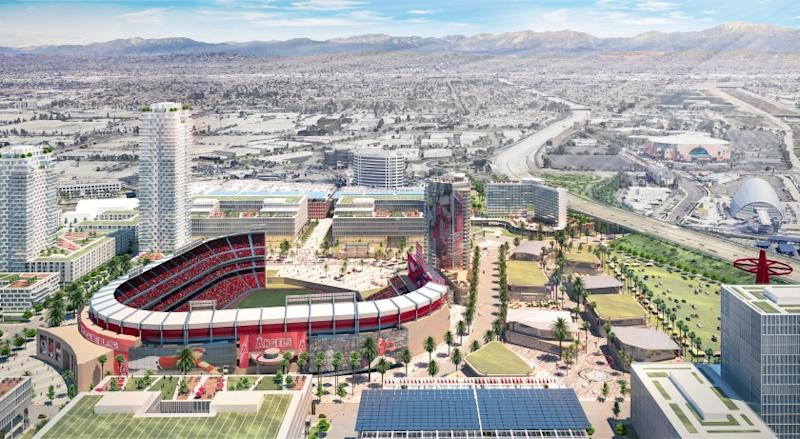 An artist's rendering of the proposed Angel Stadium development.