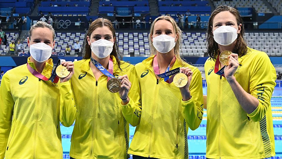 Bronte Campbell, Meg Harris, Emma McKeon and Cate Campbell, pictured here with their gold medals.