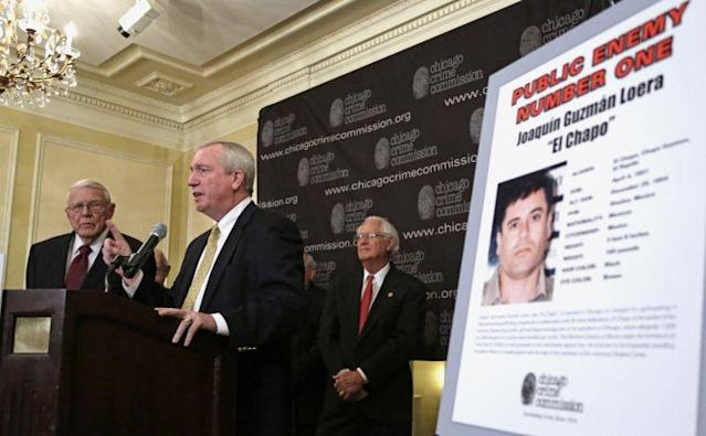 """On Feb. 14, 2013, Al Bilek of the Chicago Crime Commission, DEA Special Agent Jack Riley, and former DEA Administrator Peter Bensinger announce that Joaquin """"El Chapo"""" Guzman is Chicago's Public Enemy No. 1. (Photo: M. Spencer Green/AP)"""
