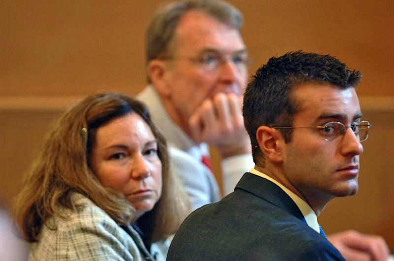 "FILE - In this July 10, 2006 file photo, Christopher Porco, right, and his attorneys Terence Kindlon, left, and Laurie Shanks, center, are shown during his trial in the Orange County Courthouse in Goshen, N.Y. A New York judge has temporarily barred Lifetime from showing its made-for-TV movie on Porco, a man from upstate New York convicted in the 2004 axe murder of his father and maiming of his mother. Lifetime has scheduled ""Romeo Killer: The Christopher Porco Story"" to debut on Saturday night and repeat on Sunday. (AP Photo/Philip Kamrass, Pool, File)"