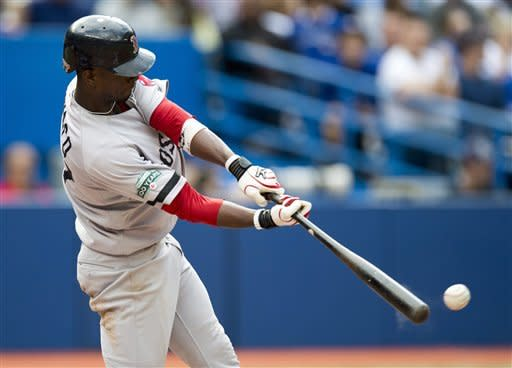 CORRECTS DAY AND DATE - Boston Red Sox's Pedro Ciriaco drives in the game-winning run with an RBI double in the ninth inning of a baseball against the Toronto Blue Jays in Toronto on Saturday, Sept. 15, 2012. The Red Sox won 3-2. (AP Photo/The Canadian Press, Frank Gunn)