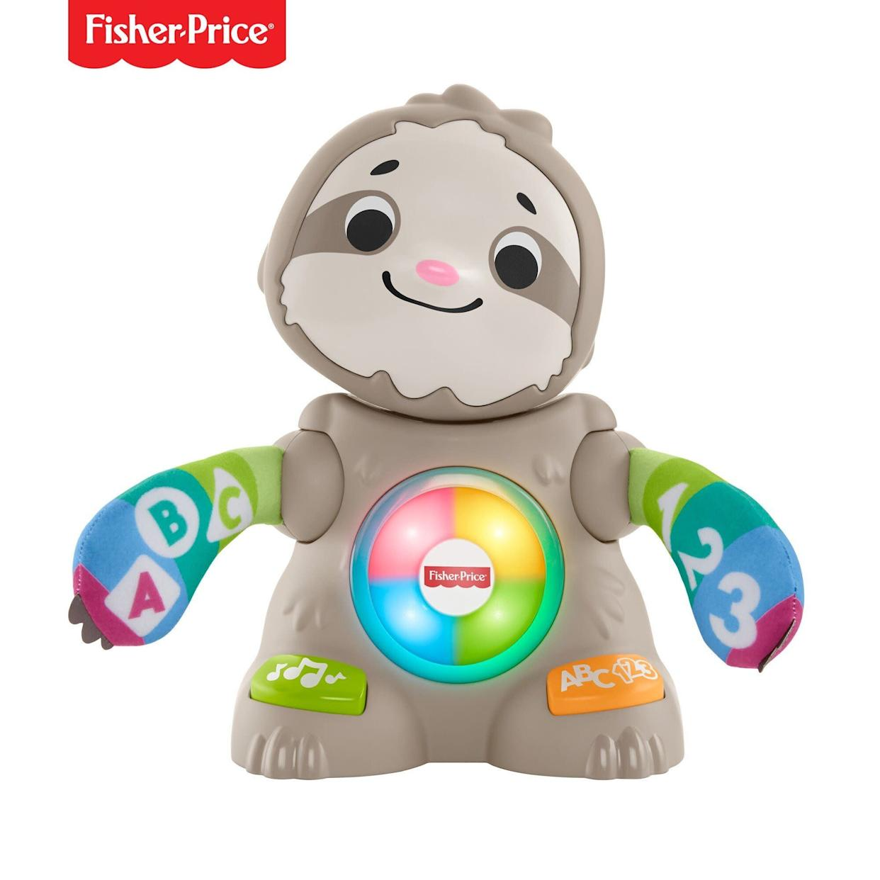"The Linkimals Smooth Moves Sloth gets your baby moving and learning with exciting lights, music, songs, and groovy dance moves. Press the buttons on the sloth's feet to hear all about numbers, colors and more, as the sloth claps its hands and bobs its head.&nbsp;<strong><a href=""https://fave.co/2PDOnlu"" rel=""nofollow noopener"" target=""_blank"" data-ylk=""slk:Find it for $32 at Walmart"" class=""link rapid-noclick-resp"">Find it for $32 at Walmart</a>.</strong>"