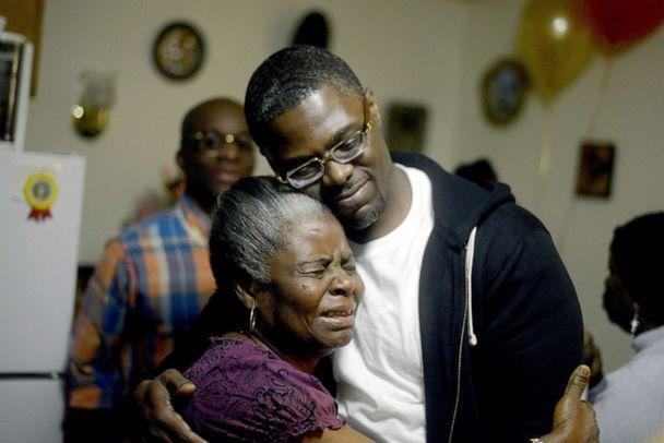PHOTO: Sundhe Moses, 37, reunited with h is mother Elaine at his mother's home in Brooklyn, Dec. 3, 2013. (Pearl Gabel/NY Daily News via Getty Images, FILE)