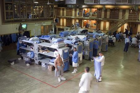 Prisoners gather at the Mule Creek State Prison in California